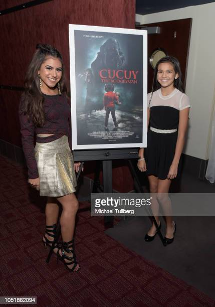 Actors Jearnest Corchado and Bella Stine attend a screening of SyFy's Cucuy The Boogeyman at ArcLight Sherman Oaks on October 10 2018 in Sherman Oaks...
