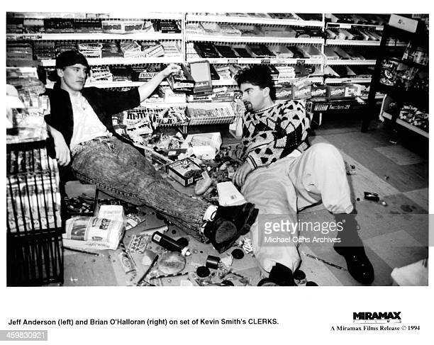 Actors Jeff Anderson and Brian O'Halloran on set of the Miramax movie Clerks circa 1994