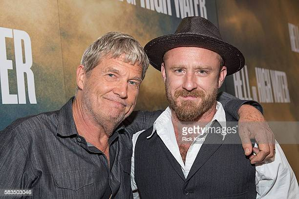 Actors Jeff Bridges and Ben Foster arrive at the Alamo Drafthouse for the red carpet screening of 'Hell or High Water' on July 25 2016 in Austin Texas