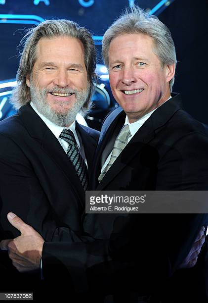 Actors Jeff Bridges and Bruce Boxleitner arrive at Walt Disney's TRON Legacy World Premiere held at the El Capitan Theatre on December 11 2010 in Los...