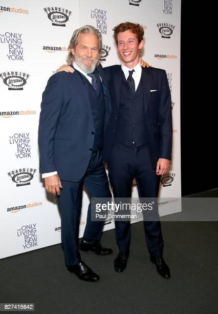 Actors Jeff Bridges and Callum Turner attend The Only Living Boy In New York New York premiere at The Museum of Modern Art on August 7 2017 in New...