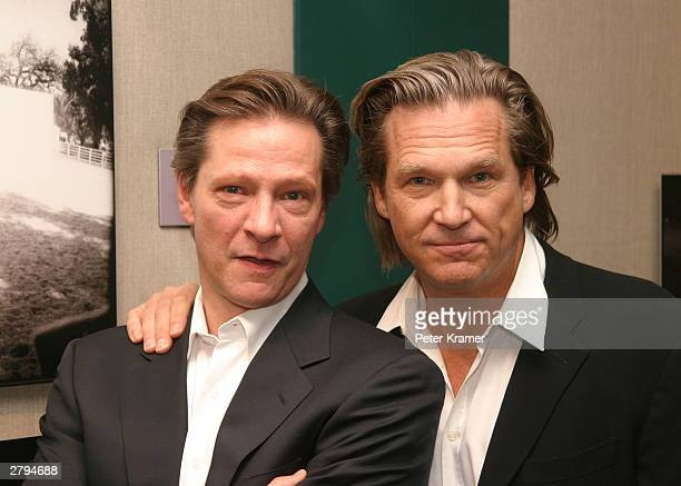 Actors Jeff Bridges and Chris Cooper at An Evening With Jeff Bridges photographs from The Last Picture Show to Seabiscuit December 8 2003 in New York...