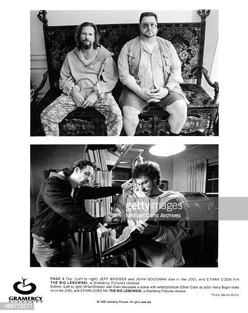 Actors Jeff Bridges and John Goodman Writer/director Joel Coen and Ethan Coen with Harry Bugin on set of the Gramercy Pictures movie 'The Big...