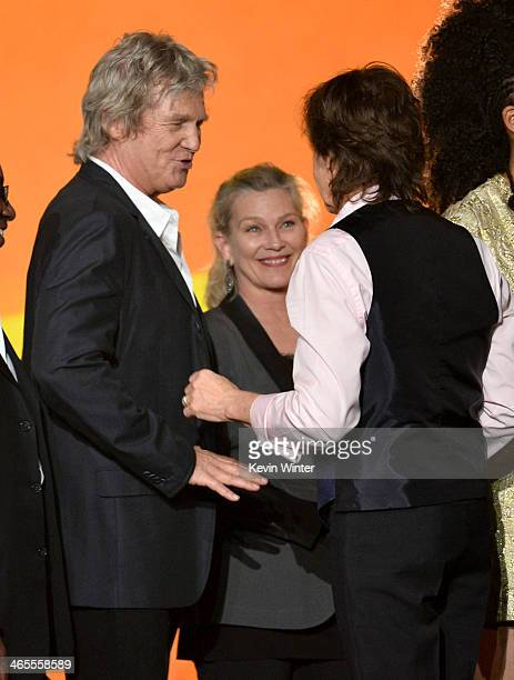 Actors Jeff Bridges and Susan Geston and recording artist Paul McCartney onstage during 'The Night That Changed America A GRAMMY Salute To The...