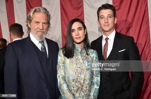Actors Jeff Bridges Jennifer Connelly and Miles Teller attend the premiere of Columbia Pictures' 'Only The Brave' at the Regency Village Theatre on...