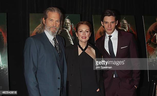 Actors Jeff Bridges Julianne Moore and Ben Barnes attend the 'Seventh Son' special screening at Crosby Street Hotel on January 30 2015 in New York...