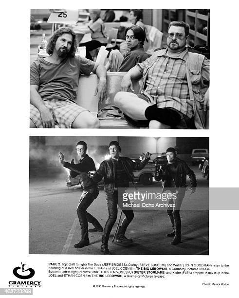 Actors Jeff Bridges Steve Buscemi and John Goodman actors Torsten Voges Peter Stormare and Flea on set of the Gramercy Pictures movie 'The Big...