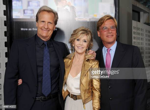"""Actors Jeff Daniels and Jane Fonda and creator/ executive producer Aaron Sorkin arrive at the Los Angeles premiere of HBO's """"The Newsroom"""" at..."""