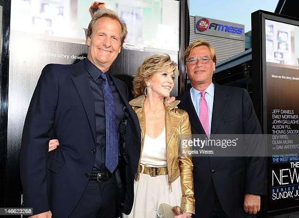Actors Jeff Daniels Jane Fonda and writer Aaron Sorkin arrive at HBO's New Series 'Newsroom' Los Angeles Premiere at ArcLight Cinemas Cinerama Dome...