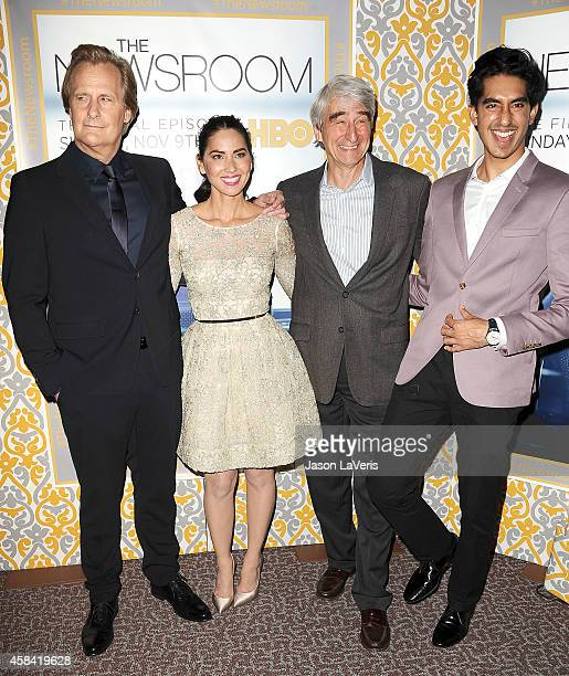 Actors Jeff Daniels Olivia Munn Sam Waterston and Dev Patel attend the premiere of The Newsroom at DGA Theater on November 4 2014 in Los Angeles...