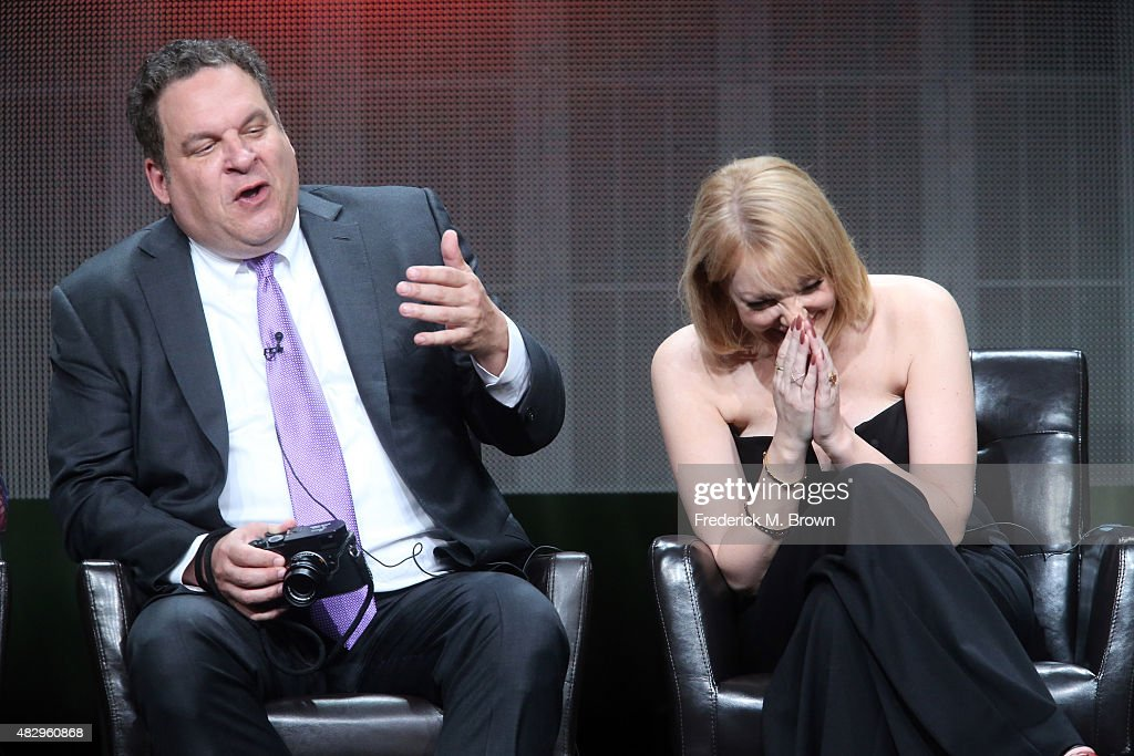 Actors Jeff Garlin (L) and Wendi McLendon-Covey speak onstage during the 'The Goldbergs' panel discussion at the ABC Entertainment portion of the 2015 Summer TCA Tour at The Beverly Hilton Hotel on August 4, 2015 in Beverly Hills, California.