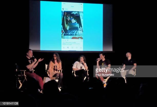 Actors Jeff Garlin MAD Magazine editor Allie Goertz actors Rachel Bloom Ben Schwartz and host Paul Scheer speak onstage at Hanging Out With Paul...