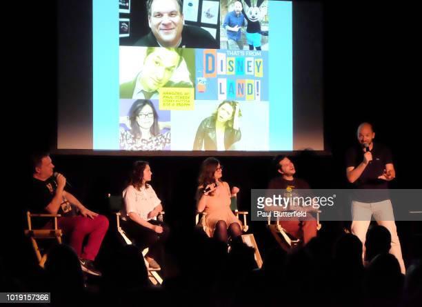 Actors Jeff Garlin Rachel Bloom MAD Magazine editor Allie Goertz actor Ben Schwartz and host Paul Scheer speak onstage at Hanging Out With Paul...