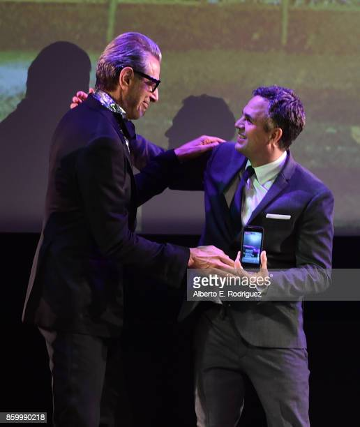 Actors Jeff Goldblum and Mark Ruffalo at The World Premiere of Marvel Studios' Thor Ragnarok at the El Capitan Theatre on October 10 2017 in...
