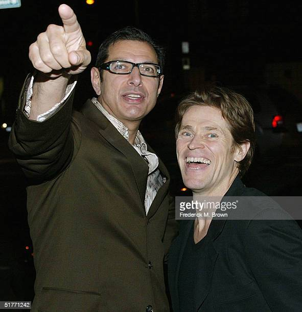 "Actors Jeff Goldblum and Willem Dafoe attend the film premiere of ""The Life Aquatic With Steve Zissou"" on November 20, 2004 at the Harmony Gold..."