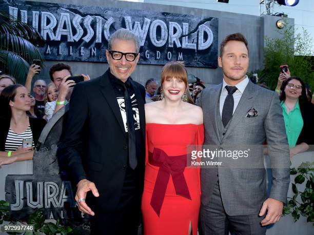 Actors Jeff Goldblum Bryce Dallas Howard and Chris Pratt arrive at the premiere of Universal Pictures and Amblin Entertainment's Jurassic World...
