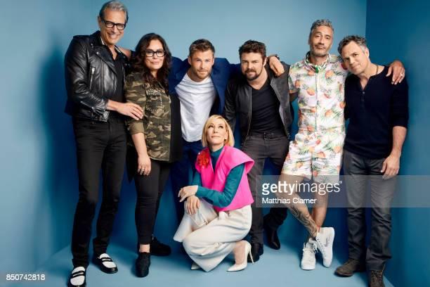 Actors Jeff Goldblum Rachel House Chris Hemsworth Cate Blanchett Karl Urban director Taika Waititi and Mark Ruffalo from Thor Ragnarok are...