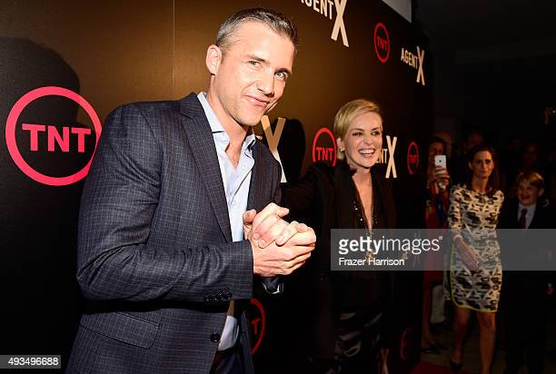 Actors Jeff Hephner and Sharon Stone attend TNT's Agent X screening at The London West Hollywood on October 20 2015 in West Hollywood California...
