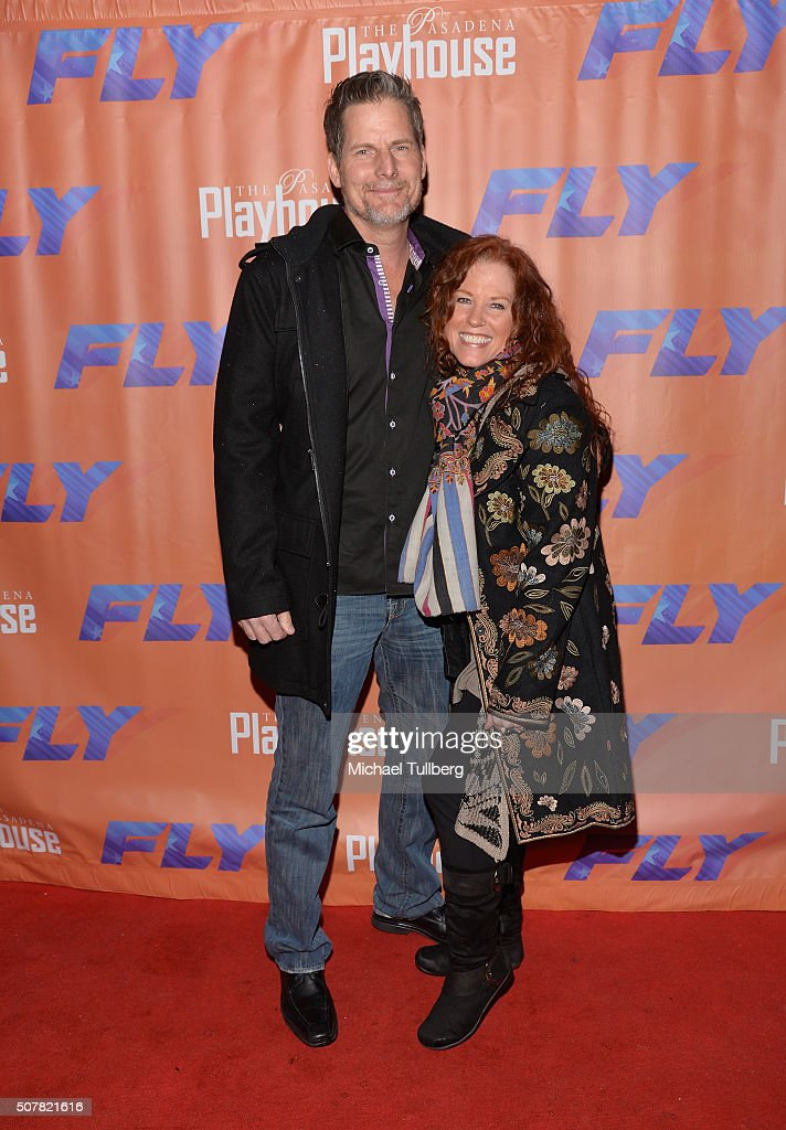 Actors Jeff Johnson and Kacee Clanton attend the opening night of the play 'Fly' at Pasadena Playhouse on January 31, 2016 in Pasadena, California.