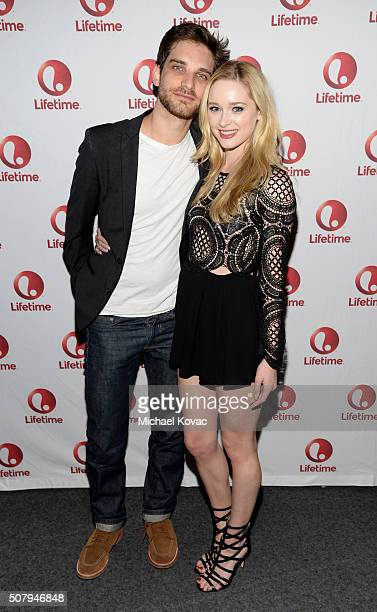 Actors Jeff Ward and Greer Grammer attend 'Manson's Lost Girls' Lifetime's Broad Focus Screening at Landmark Theatre on February 1 2016 in Los...