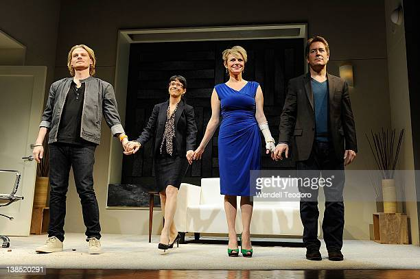 Actors Jeffrey Carlson Jan Leslie Harding Angelica Page and Laurence Lau during curtain call at the 'Psycho Therapy' opening night at the Cherry Lane...