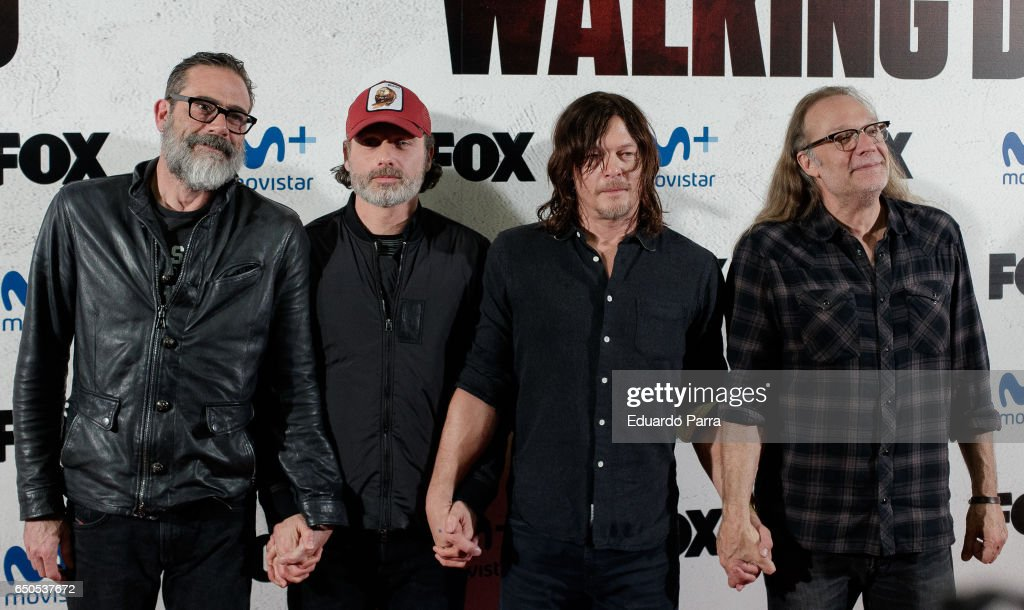 Actors Jeffrey Dean Morgan, Andrew Lincoln and Norman Reedus and director Gregory Nicotero attend 'The Walking Dead' Eurotour photocall at Capitol cinema on March 9, 2017 in Madrid, Spain.