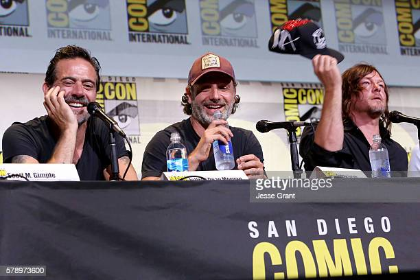 Actors Jeffrey Dean Morgan Andrew Lincoln and Norman Reedus attend AMC's 'The Walking Dead' Panel during ComicCon International 2016 on July 22 2016...