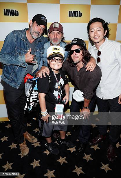 Actors Jeffrey Dean Morgan Andrew Lincoln Make A Wish Kid Ian Norman Reedus and Steven Yeun of The Walking Dead attend the IMDb Yacht at San Diego...