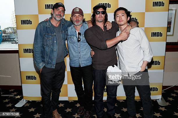 Actors Jeffrey Dean Morgan Andrew Lincoln Norman Reedus and Steven Yeun of the Walking Dead attend the IMDb Yacht at San Diego ComicCon 2016 Day...