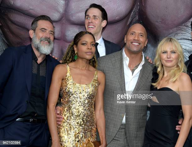 Actors Jeffrey Dean Morgan Naomie Harris Jason Liles Dwayne Johnson and Malin Akerman arrive at the premiere of Warner Bros Pictures' 'Rampage' at...