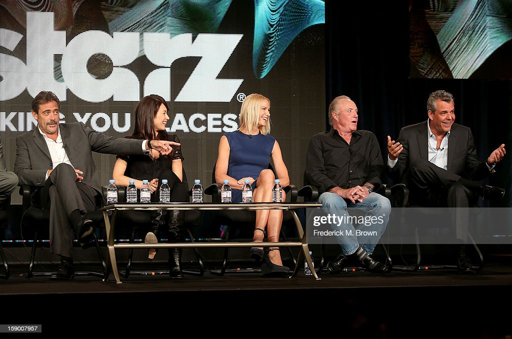 Actors Jeffrey Dean Morgan , Olga Kurylenko, Kelly Lynch, James Caan, and Danny Huston speak onstage at the 'Magic City' panel discussion during the Starz portion of the 2013 Winter TCA Tour- Day 2 at Langham Hotel on January 5, 2013 in Pasadena, California.