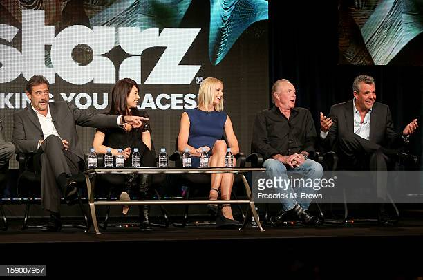 Actors Jeffrey Dean Morgan Olga Kurylenko Kelly Lynch James Caan and Danny Huston speak onstage at the 'Magic City' panel discussion during the Starz...