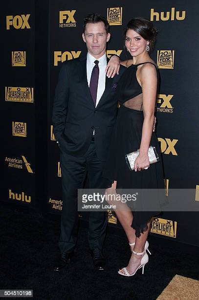 Actors Jeffrey Donovan and Michelle Woods arrive at Fox and FX's 2016 Golden Globe Awards Party on January 10, 2016 in Beverly Hills, California.