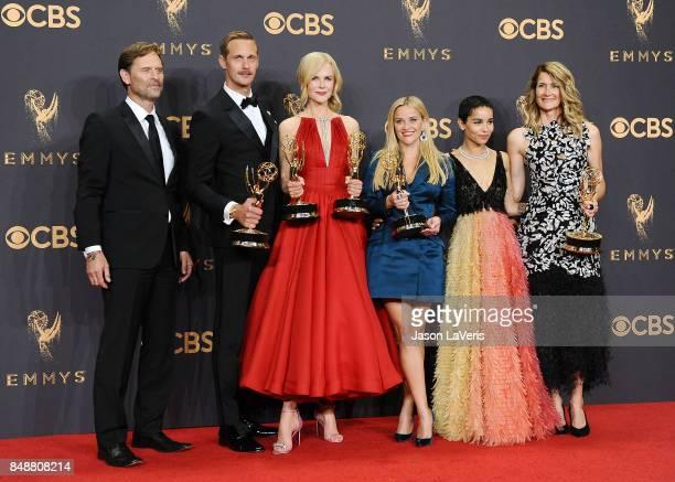 Actors Jeffrey Nordling Alexander Skarsgard Nicole Kidman Reese Witherspoon Zoe Kravitz and Laura Dern winners of Outstanding Limited Series for 'Big...