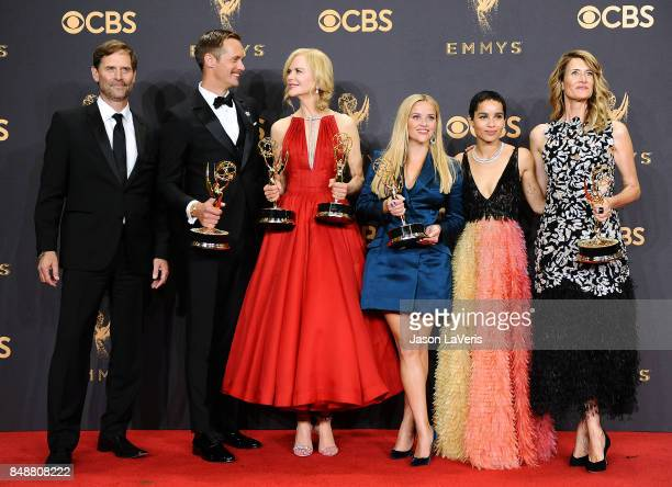 Actors Jeffrey Nordling Alexander Skarsgard Nicole Kidman Reese Witherspoon Zoe Kravitz and Laura Dern winners of Outstanding Limited Series for 'Big...