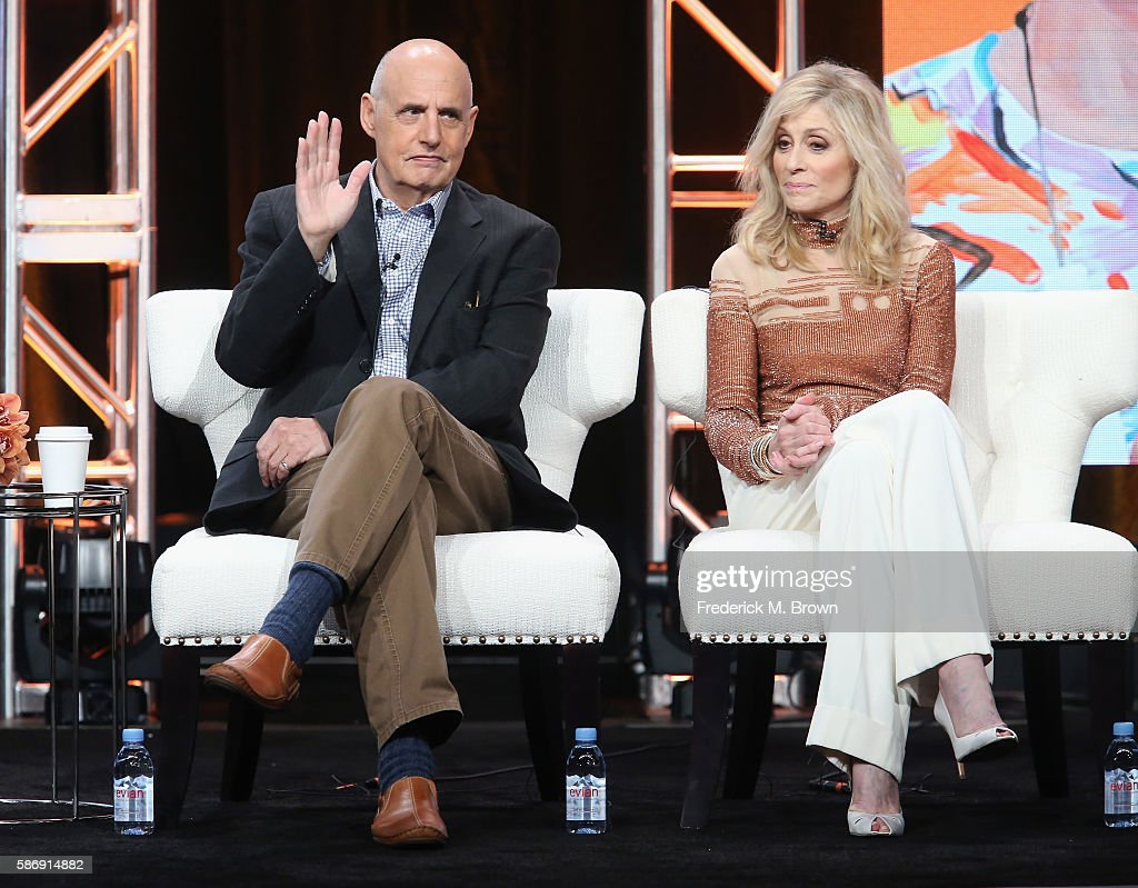 Actors Jeffrey Tambor and Judith Light speak onstage at the 'Transparent' panel discussion during the Amazon portion of the 2016 Television Critics Association Summer Tour at The Beverly Hilton Hotel on August 7, 2016 in Beverly Hills, California.