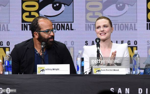 Actors Jeffrey Wright and Evan Rachel Wood attend the Westworld panel and QA Session during ComicCon International 2017 at San Diego Convention...