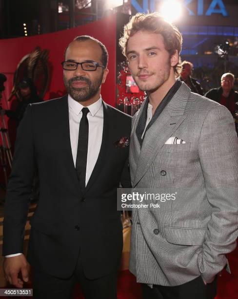 Actors Jeffrey Wright and Sam Claflin attend premiere of Lionsgate's The Hunger Games Catching Fire Red Carpet at Nokia Theatre LA Live on November...