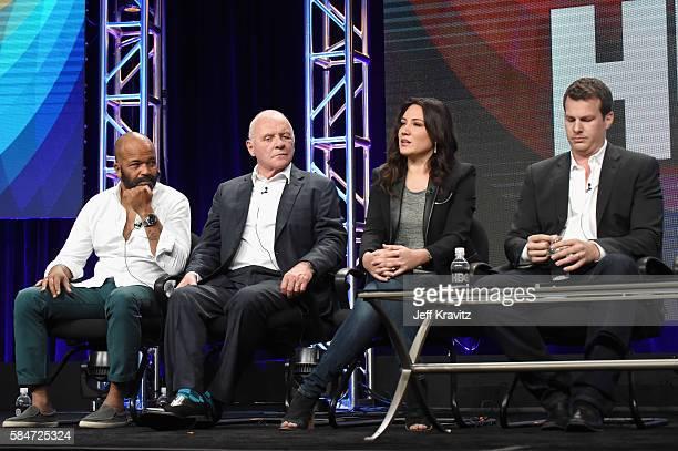 Actors Jeffrey Wright Sir Anthony Hopkins Executive producer/writer Lisa Joy and Director/executive producer/writer Jonathan Nolan speak onstage...