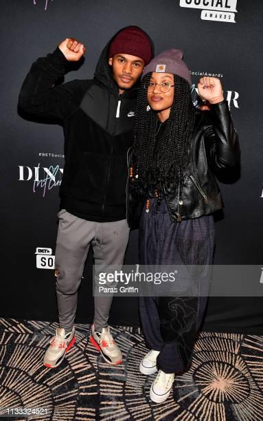 Actors Jelani Winston and Katlyn Nichol attend 2018 BET Social Awards Dinner at TWELVE Atlantic Station on March 02 2019 in Atlanta Georgia
