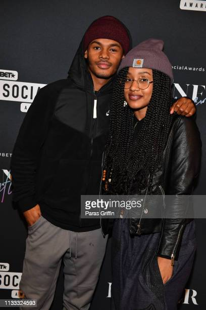 Actors Jelani Winston and Katlyn Nichol attend 2018 BET Social Awards Dinner at TWELVE Atlantic Station on March 02, 2019 in Atlanta, Georgia.