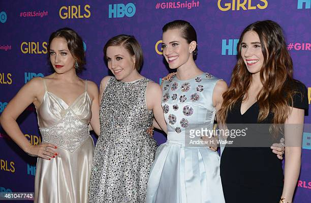 "Actors Jemima Kirke, Lena Dunham, Allison Williams and Zosia Mamet attend the ""Girls"" season three premiere at Jazz at Lincoln Center on January 6,..."