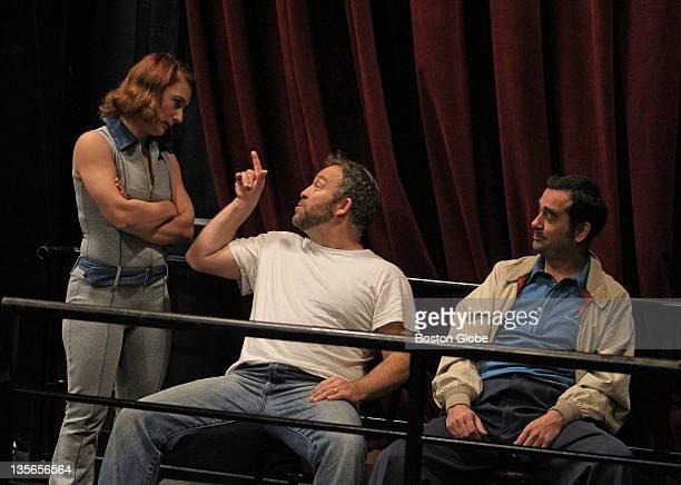 Actors Jen Alison Lewis Peter Darrigo land Paula Branco right during rehearsal at The Friends of Eddi Coyle on Dec 3 2011 Oberon theater in Cambridge...