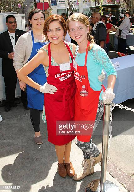 Actors Jen Lilley and Delaney Raye attend The Los Angeles Mission Easter Event at The Los Angeles Mission on April 3, 2015 in Los Angeles, California.