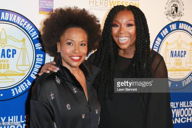 Actors Jenifer Lewis and Brandy Norwood attends the 27th Annual NAACP Theatre Awards at Millennium Biltmore Hotel on February 26 2018 in Los Angeles...