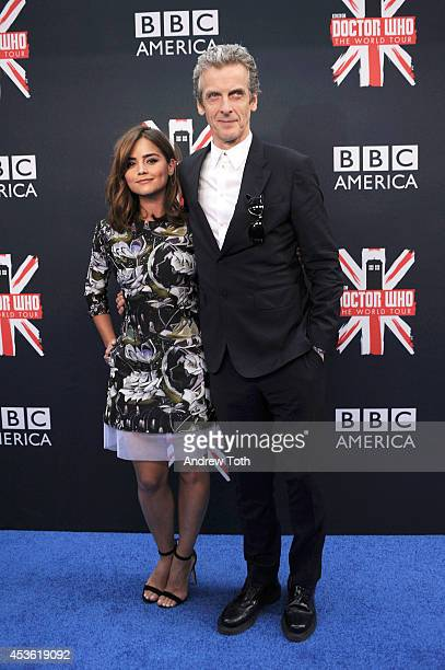 """Actors Jenna Coleman and Peter Capaldi attend BBC America's """"Doctor Who"""" Premiere Fan Screening at Ziegfeld Theater on August 14, 2014 in New York..."""