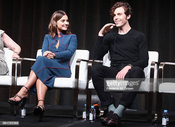 Actors Jenna Coleman and Tom Hughes speak onstage during the 'Masterpiece 'Victoria' panel discussion at the PBS portion of the 2016 Television...
