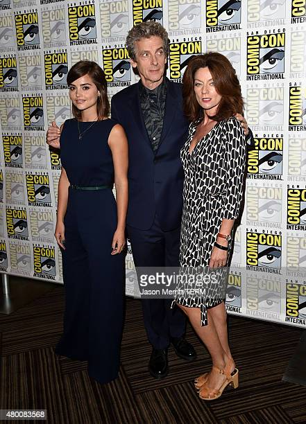 Actors Jenna Coleman Peter Capaldi and Michelle Gomez attend the BBC America Doctor Who photo call during ComicCon International 2015 at the Hilton...