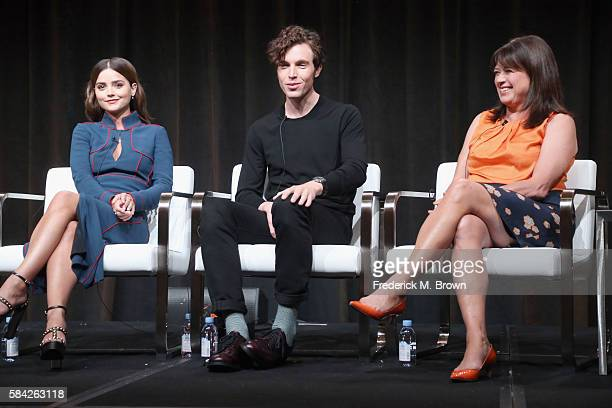 Actors Jenna Coleman Tom Hughes and creator/writer/executive producer Daisy Goodwin speak onstage during the 'Masterpiece 'Victoria' panel discussion...
