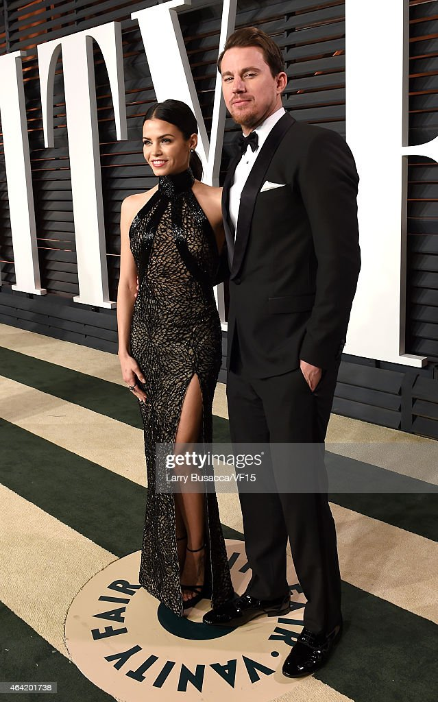 Actors Jenna Dewan (L) and Channing Tatum attend the 2015 Vanity Fair Oscar Party hosted by Graydon Carter at the Wallis Annenberg Center for the Performing Arts on February 22, 2015 in Beverly Hills, California.